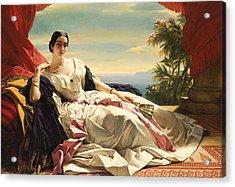 Portrait Of Princess Leonilla Acrylic Print by Franz Xaver Winterhalter