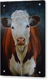 Portrait Of Sally The Cow Acrylic Print by Cheri Wollenberg