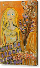 Portrait Of Sunshine Girl Acrylic Print by Maggis Art