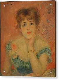 Portrait Of The Actress Jeanne Samary Acrylic Print by Pierre Auguste Renoir
