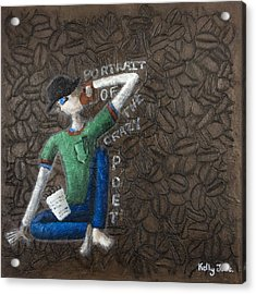 Portrait Of The Crazy Poet Acrylic Print by Kelly Jade King