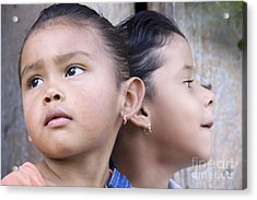Acrylic Print featuring the photograph Portrait Of Two Panama Girls by Heiko Koehrer-Wagner