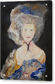 Portrait Of Woman In Blue Acrylic Print by Edward Wolverton