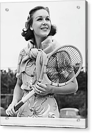Portrait Of Woman With Racquet On Tennis Court Acrylic Print by George Marks