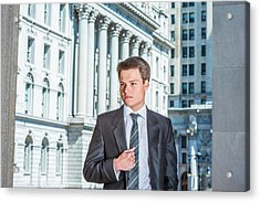Acrylic Print featuring the photograph Portrait Of Young Businessman 15042511 by Alexander Image