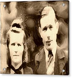 Portrait Underpainting In Umber And Browns Old Couple Acrylic Print by MendyZ