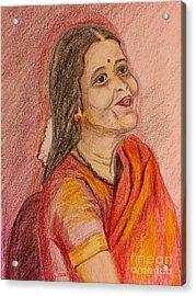 Portrait With Colorpencils Acrylic Print
