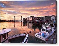 Portsmouth Harbor Brilliant Sunrise Acrylic Print by Eric Gendron