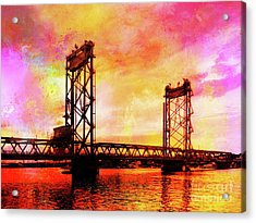 Portsmouth Memorial Bridge Abstract At Sunset Acrylic Print