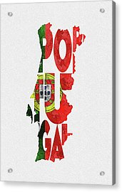 Portugal Typographic Map Flag Acrylic Print