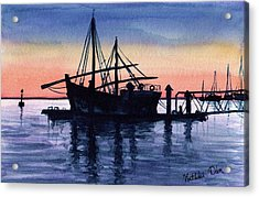 Acrylic Print featuring the painting Portuguese Fishing Boat by Dora Hathazi Mendes