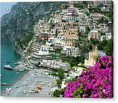Positano's Beach Acrylic Print by Donna Corless