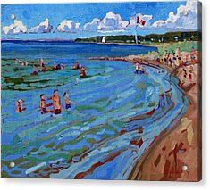 Positively Buoyant Beach People Acrylic Print by Phil Chadwick