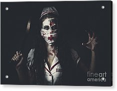 Possessed Health Practitioner With Surgeon Saw Acrylic Print by Jorgo Photography - Wall Art Gallery
