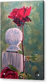 Acrylic Print featuring the painting Post And The Rose by Jim Phillips