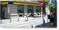 Post Office And Public Telephone On Mejia Lequerica Street - Madrid Acrylic Print by Thomas Bussmann
