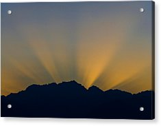 Post Sunset Sun Rays Over Mount Constance Olympic Mountains Wa Acrylic Print