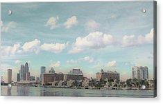 Postcard Look Of Tampa Skyline Acrylic Print by Rebecca Sauceda