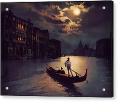 Acrylic Print featuring the painting Postcards From Venice - The Red Gondola by Douglas MooreZart