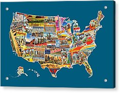 Postcards Of The United States Vintage Usa All 50 States Map Acrylic Print