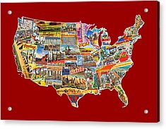 Postcards Of The United States Vintage Usa Lower 48 Map Choose Your Own Background Acrylic Print