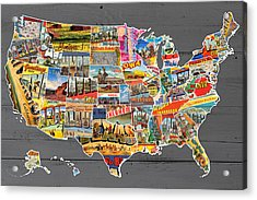 Postcards Of The United States Vintage Usa Map On Gray Wood Background Acrylic Print