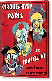Poster Advertising The Fratellini Clowns Acrylic Print by French School
