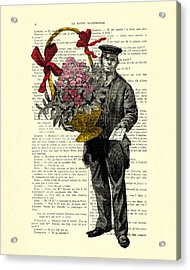Postman Delivering Bouquet Of Flowers Acrylic Print