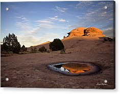 Pothole Reflection On Slickrock Trail Acrylic Print