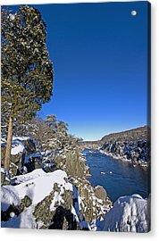 Potomac River At Great Falls National Park During Winter Acrylic Print by Brendan Reals