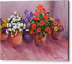 Pots Of Flowers Acrylic Print by Jamie Frier