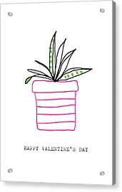 Potted Plant Valentine- Art By Linda Woods Acrylic Print
