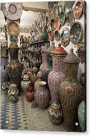 Pottery In Sales Room, Fes, Morocco Acrylic Print by Panoramic Images
