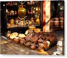 Pottery In The Bazaar Acrylic Print by Rae Tucker