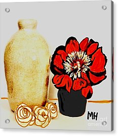 Acrylic Print featuring the painting Pottery Peony Roses by Marsha Heiken