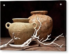 Pottery With Branch I Acrylic Print