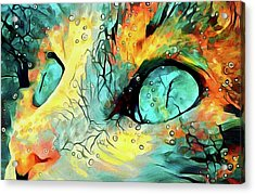 Acrylic Print featuring the mixed media Pouncival by Susan Maxwell Schmidt