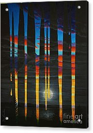 Poured Sunset On A Moonlit Night Acrylic Print by Don Evans