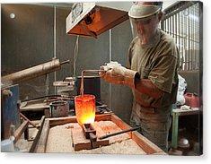 Pouring A 90oz Gold Bar-3 Acrylic Print
