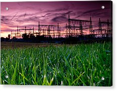 Power Lines Sunset Acrylic Print by Cale Best
