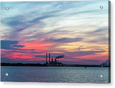 Power Plant Sunset Acrylic Print