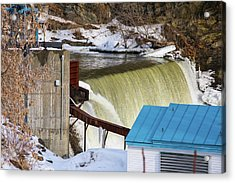 Power Station Falls On Black River Two Acrylic Print