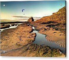 Powered Paraglider Over Bundoran Main Beach At Sunset Acrylic Print