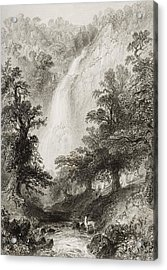 Powerscourt Fall, County Wicklow Acrylic Print by Vintage Design Pics