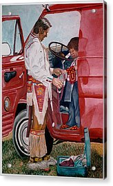 Powwow Family Acrylic Print by Sam Vega