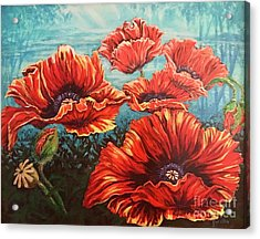 Acrylic Print featuring the painting Ppoppies by Gail Allen
