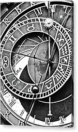 Prague Astronomical Clock Close-up Bw Acrylic Print