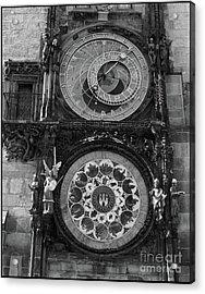 Prague Astronomical Clock In B/w Acrylic Print
