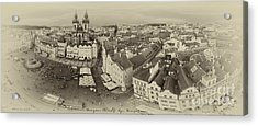 Prague Bird's Eye Panorama Acrylic Print by Prague Art Prints