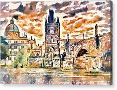 Prague Bridge 2 Acrylic Print by Yury Malkov